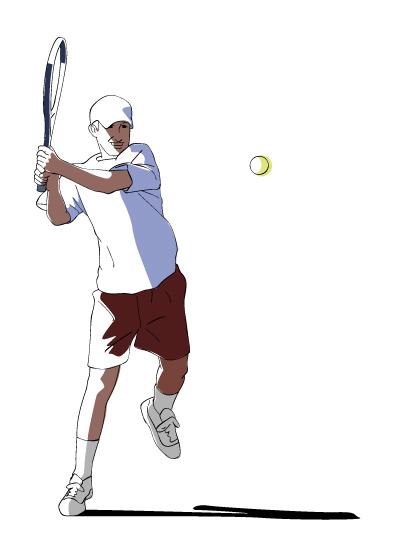 バックハンドで打つテニスプレイヤー
