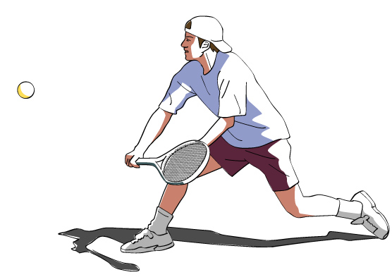 ドロップショットを拾うテニスプレイヤー