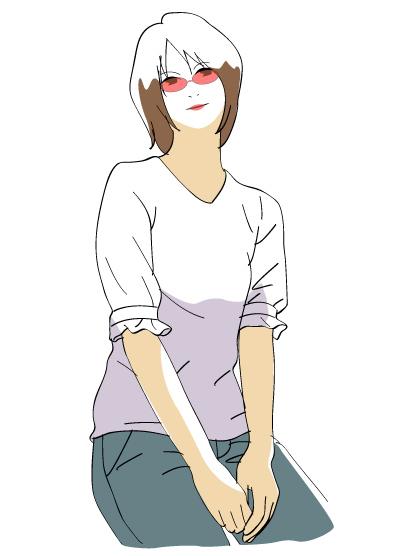 赤いサングラスをかけた女性