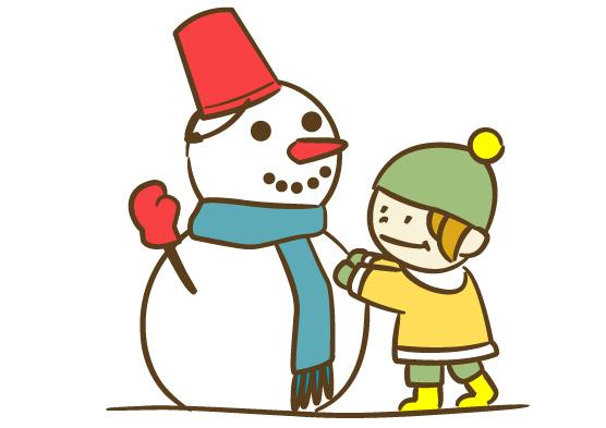 雪だるまと子ども