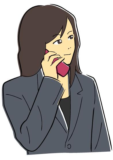 携帯電話中の女性